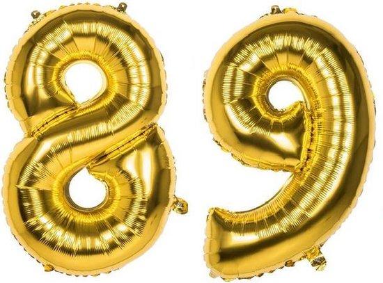 89 Jaar Folie Ballonnen Goud - Happy Birthday - Foil Balloon - Versiering - Verjaardag - Man / Vrouw - Feest - Inclusief Opblaas Stokje & Clip - XXL - 115 cm
