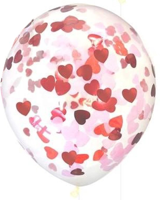 Confetti ballonnen met hartjes mix confetti, 5 stuks, 30 cm