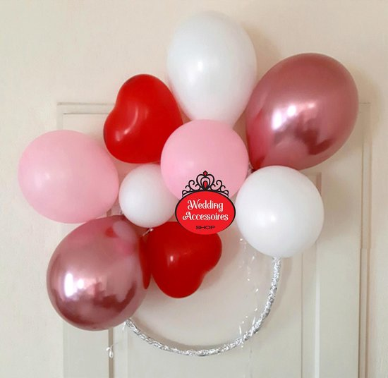 50 stuks Valentijn Love ballonnen pakket - Nedville - Luxe Ballonnen rode Hartjes, chrome roze, pastel roze en pastel wit - Helium Ballonnenset, Feest, Verjaardag, Party, Wedding, Valentijn. Incl. ballonsluiters met wit lint t.w.v. 9,95