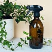 Plantenspuit | 500 ml amberglas | met zwarte spraykop | plantensproeier | Waterverstuiver | Verstuiver | Waterspuit