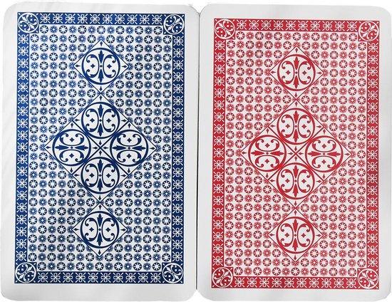 Afbeelding van het spel 2 x 56 Luxe Speelkaarten - Spelkaarten - Poker Kaarten - 2 STUKS - Rood & Blauw
