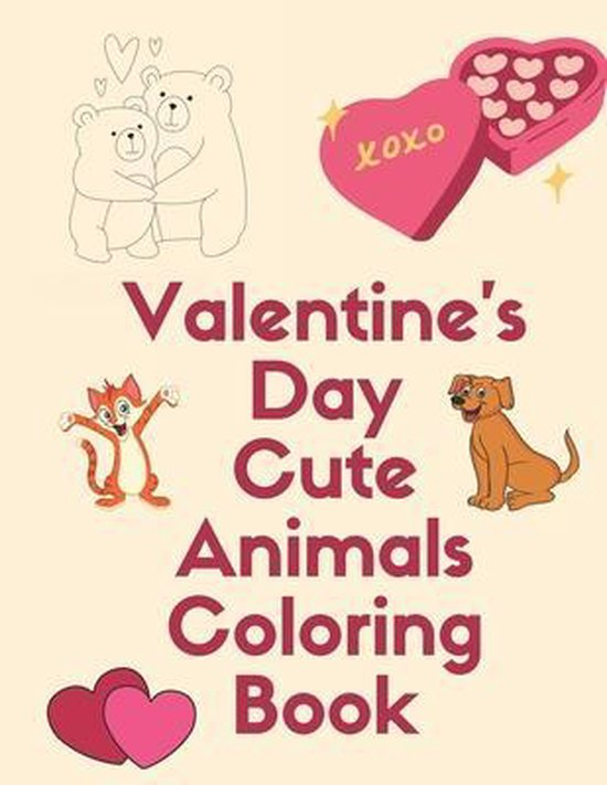 Valentine's Day Cute Animals Coloring Book