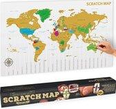MikaMax Scratchmap - Wereldkaart - Wereldkaart Wanddecoratie - Kras Wereldkaart - World Map - Groot - 88 x 55 Cm