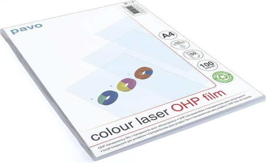 Overheadsheets A4 OHP Folie color laser printer - 100 mic - transparant - 50 stuks