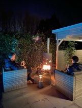 Vuurkorf Type Tuinstoof LOVE in galvastaal, zorgt voor sfeer en gezelligheid in je tuin of op je terras het hele jaar door.