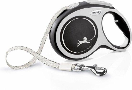 Flexi Rollijn New Comfort Tape L 8 m - Hondenriem - Zwart&Lichtgrijs