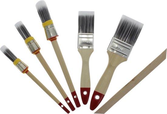 Budgetline kwastenset - 6-delig - synthetisch haar, houten steel - 8 - 10 - 14