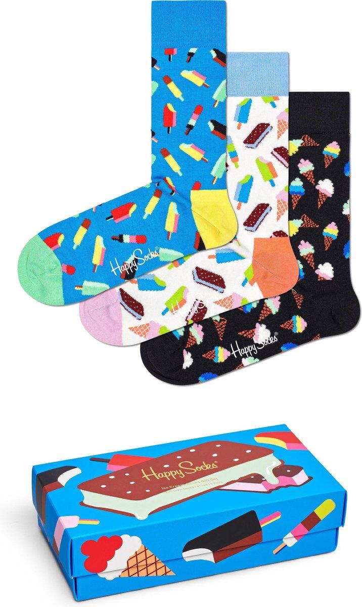 Happy Socks XICE08-6700 Ice Cream Three Pack Gift Box - Maat 41-46
