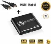 Professional HDMI-Splitter – 1x-in 2x-uit – Dupliceert – 2 poorts 4K Ondersteunt alle resoluties + 3D, Inclusief 1m HDMI Kabel!