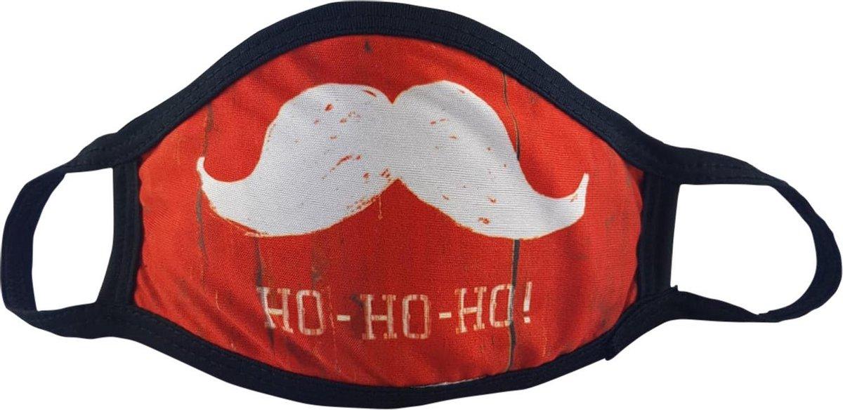 """Grappig Kerst mondkapje """"HoHoHo"""" - Maat S (kids t/m 9 jaar) - Niet-Medisch - Herbruikbaar - Rood - Wasbaar"""