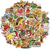 Mexicaanse sticker mix - 50 stickers met Mexico thema voor restaurant, muur, laptop, raam etc.