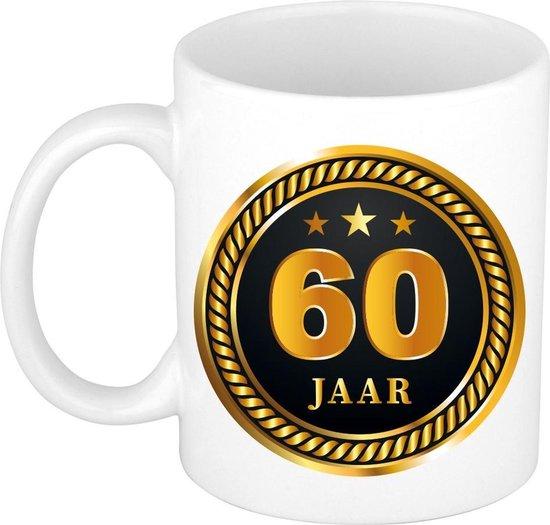 60 jaar cadeau mok / beker medaille goud zwart voor verjaardag/ jubileum - cadeau 60 jaar getrouwd