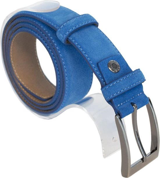 Riem Heren Suede Blauw – Riem Dames Suede Blauw – 3.5 cm Breed – 135 cm (Taillemaat 115 cm)