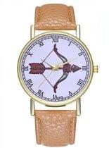 Hidzo Horloge Pijl en Boog Ø 38 - Beige - Kunstleer