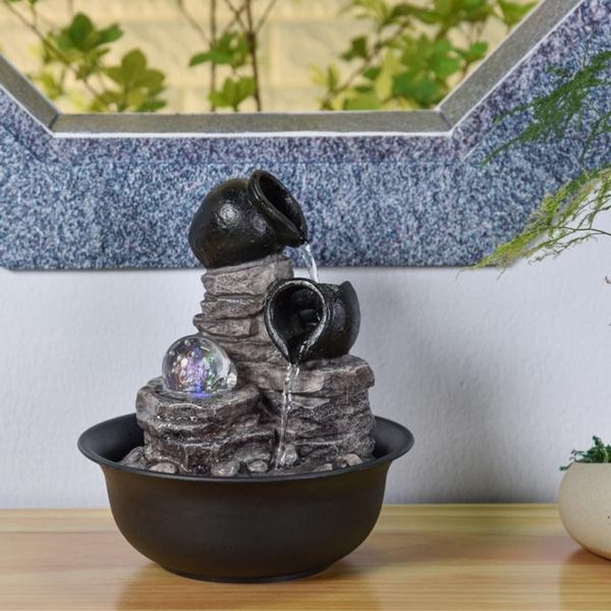 Fontein Nature Verso 25 cm hoog - fontein - interieur - fontein voor binnen - relaxeer - zen - waterornament - cadeau - geschenk - relatiegeschenk - kerst - nieuwjaar - origineel - lente - zomer - lentecollectie - zomercollectie - afkoeling - koelte