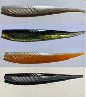 Shads - 4 stuks - Roofvissen - Snoekbaars- Assortiment - Softlures
