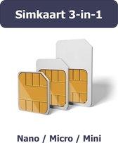 Simkaart 3-in-1 - Mini/Micro/Nano - 2G/3G/4G - Data/SMS/Bellen - M2M - Geschikt voor Internet Of Things apparaten zoals GPS Trackers / Alarmsystemen / Camera's - Wereldwijde dekking