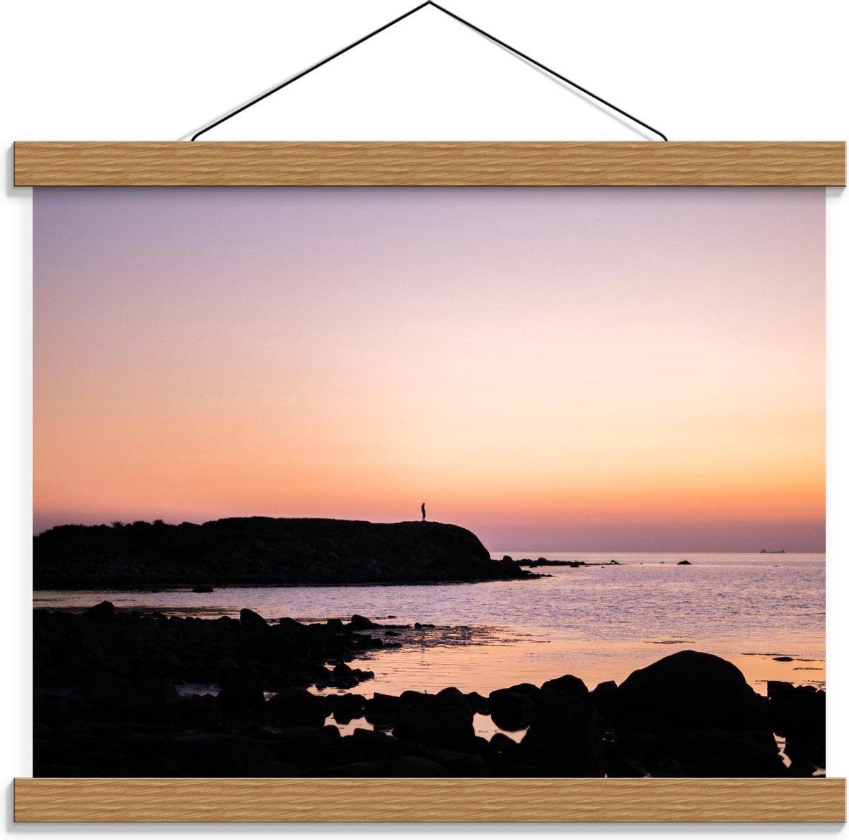 Schoolplaat   Rotsen op het Strand met Zonsondergang - 40x30cm Foto op Textielposter (Wanddecoratie op Schoolplaat)