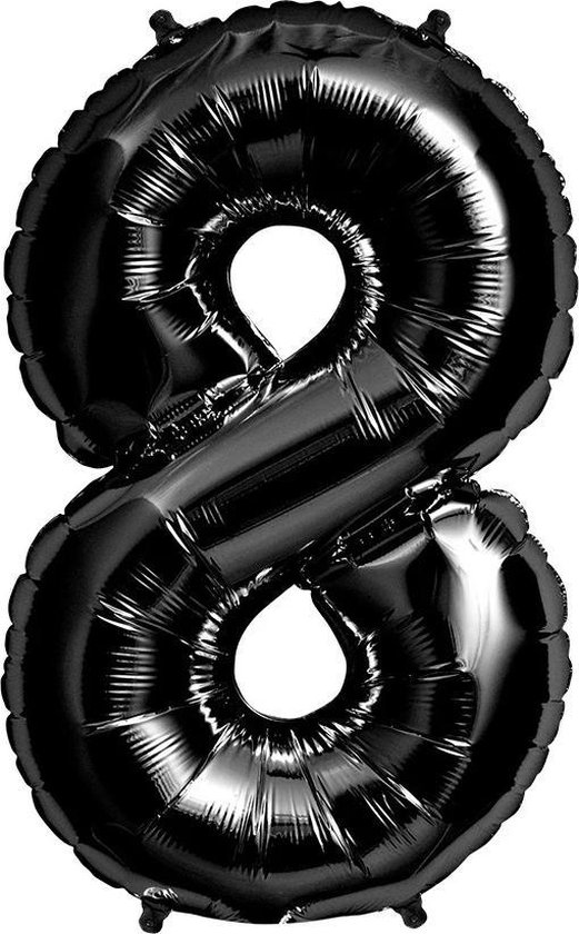 Helium ballon - Cijfer ballon - Nummer 8 - 8 jaar - Verjaardag - Zwart - Zwarte ballon -