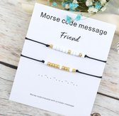 Vriendschaparmband met kralen - morse code - vrienden - BFF - 2 stuks - zwart - wit