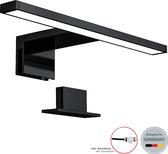 B.K.Licht - Spiegellamp - zwart - badkamerlamp - spiegelverlichting - 30cm - IP44 - 4.000K - 5W LED