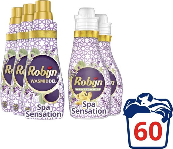 Robijn Spa Sensation Wasmiddel en Wasverzachter - 60 wasbeurten - Voordeelverpakking