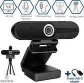 Riffaa 4K Webcam voor Pc met Microfoon 8MP - Business Edition - Inclusief tripod en klepje - Windows en Mac - Webcams met usb - Full HD