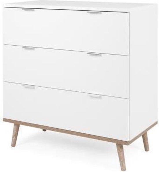 Product: Ladekast 3 lades - Sonoma wit eiken decor - L 79.8 x D 40 x H 86.5 cm - GOTEBORG, van het merk Anders