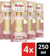 Robijn Huisparfum Rose Chique - 4 x 250 ml - Voordeelverpakking