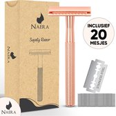 Naera Safety Razor - Inclusief 20 Double-Edge RVS Scheermesjes - Zero Waste Lifestyle - Rosé Goud