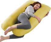 Litollo® Zwangerschapskussen XXL - Voedingskussen - Lichaamskussen - Body pillow - 280cm - Afneembare hoes - Okergeel