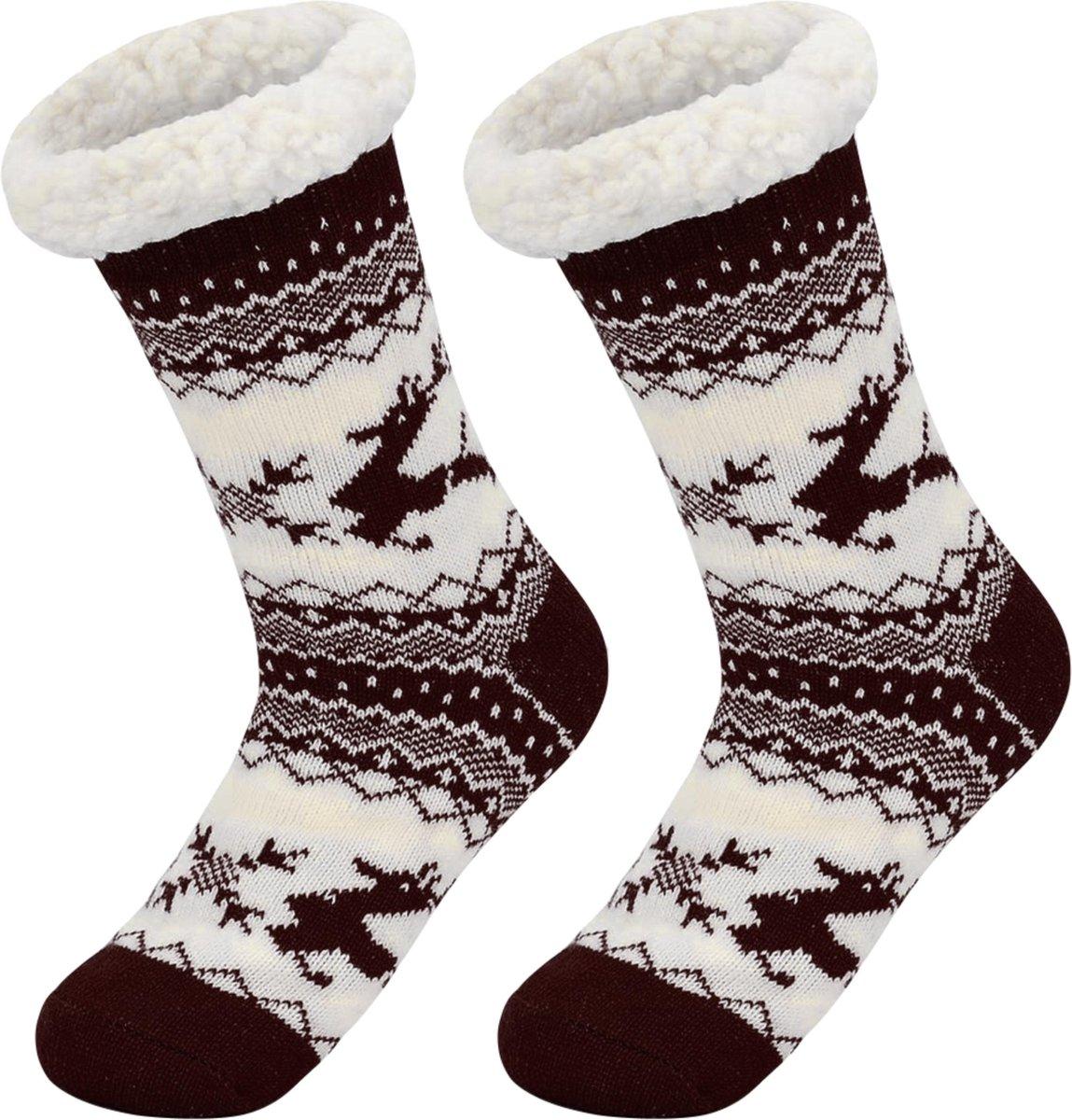 JAXY - Huissokken Dames - Verwarmde Sokken - Anti Slip Sokken - Huissokken - Bedsokken - Warme Sokken - Kerstcadeau Voor Vrouwen - Thermosokken - Dikke Sokken - Fluffy Sokken - Kerstsokken Dames en Heren - Hert Bruin