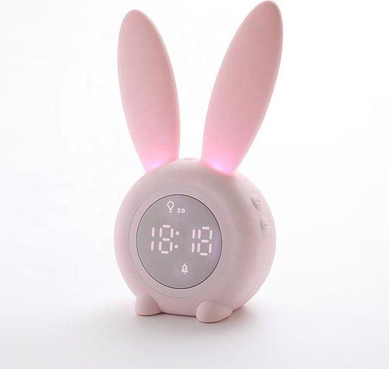 Bunny slaaptrainer én kinderwekker voor kinderen - nachtlampje - 2020 versie: roze-blauw-groen