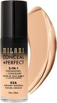 Milani Conceal + Perfect 2-in-1 Foundation + Concealer Kryj?cy Podk?ad Do Twarzy 02a Creamy Natural 30ml