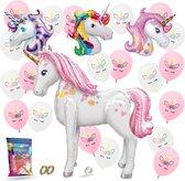 Fissaly® 26 Stuks Eenhoorn Ballonnen Versiering Pakket – Mega Folie Paard 117 CM Set– Verjaardag Kind – Prinses – Helium