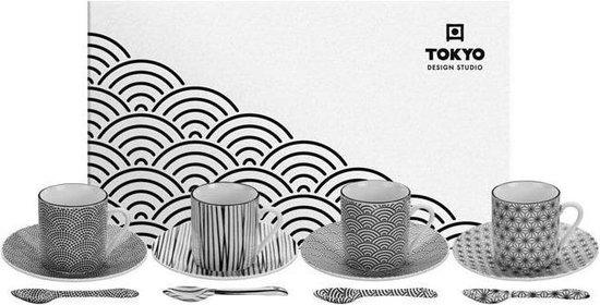 Tokyo Design Studio Nippon Black Espresso Serviesset- 4 personen - 12 stuks - Porselein