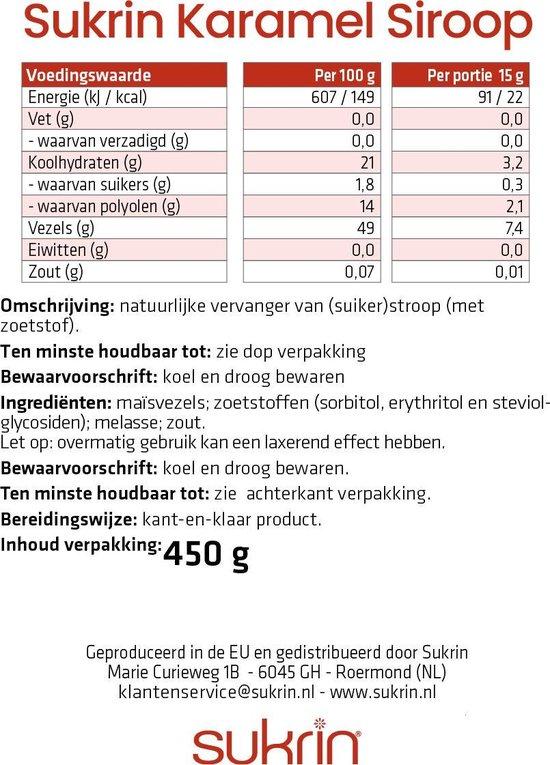 Sukrin Karamelsiroop (450 gram) - Bevat Erythritol - Suikerarme en vezelrijke suikervervanger - Natuurlijk product