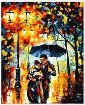 Schilderen op Nummer Volwassenen - 40x50 cm - Portret - Verliefd Paar - Paraplu - Paint by Number - Hobby Pakket - Met 3 kwasten - Zonder lijst - Met ophanghaakjes