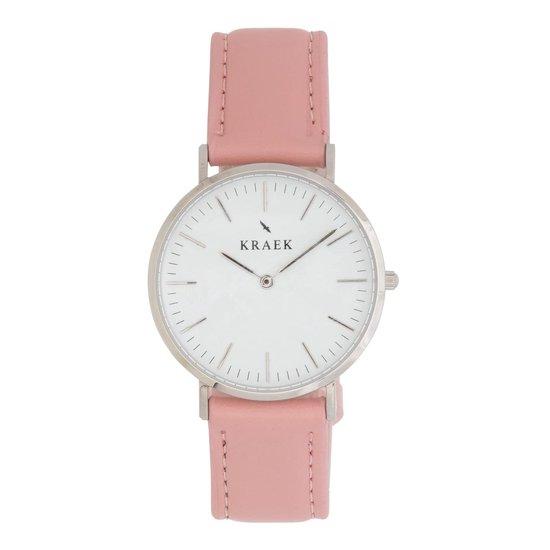 KRAEK Lisa Zilver Wit 36 mm | Dames Horloge | Roze Leren Horlogebandje | Rond | Minimaal Design