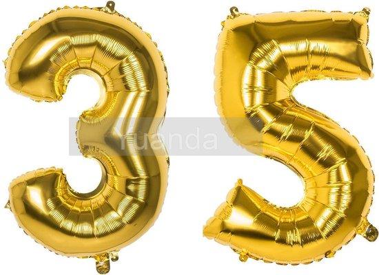 35 Jaar Folie Ballonnen Goud - Happy Birthday - Foil Balloon - Versiering - Verjaardag - Man / Vrouw - Feest - Inclusief Opblaas Stokje & Clip - XXL - 115 cm