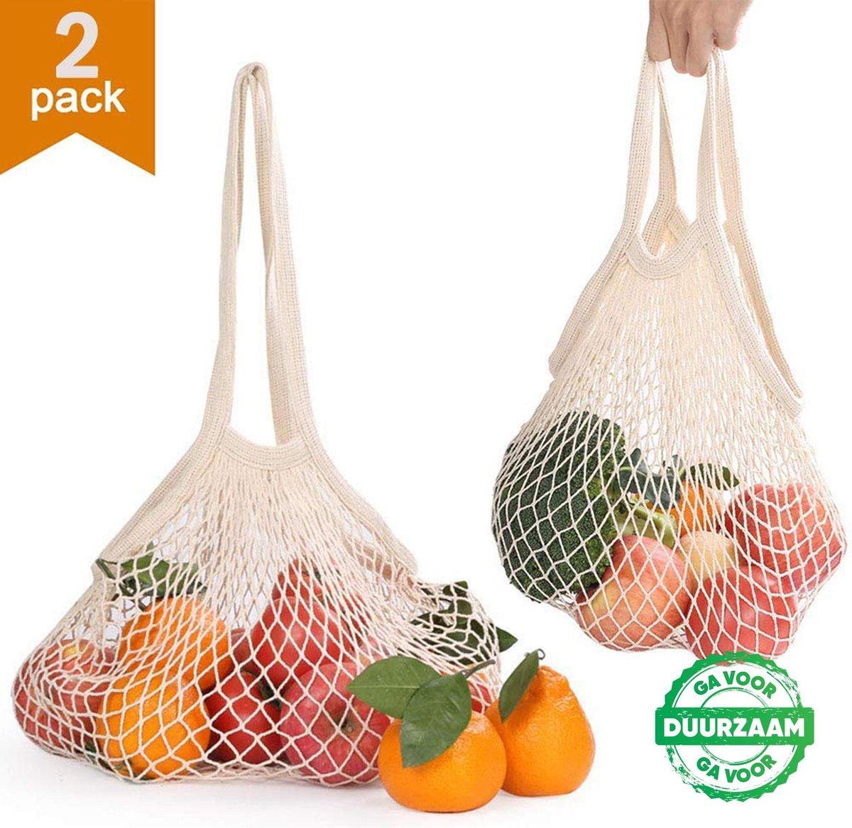 2x Zero Waste Nettas Herbruikbare Boodschappentas / Groenten- en fruittas / Eco Bag