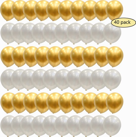 40 stuks Luxe Chrome Metallic Helium Latex Ballonnen MagieQ (Goud  Wit) Feest|Party|Kinderfeesje|Decoratie|versiering|Kerst|
