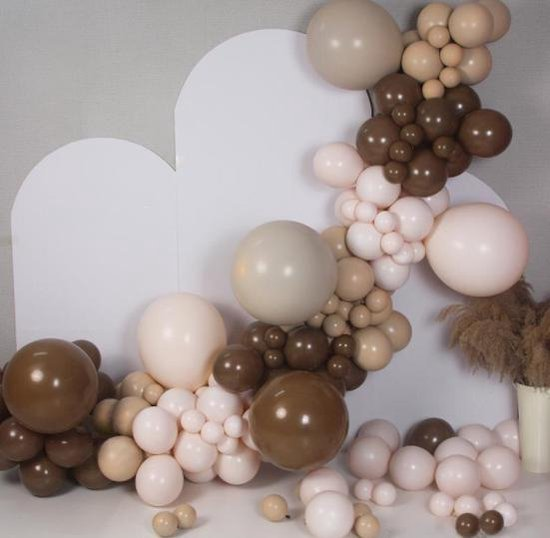 Ballonnen Bruintinten (3x dubbele ballon)   Effen Bruin - Beige - Off-White   8 stuks   Baby Shower - Kraamfeest - Verjaardag - Geboorte - Fotoshoot - Wedding - Marriage - Birthday - Party - Feest - Huwelijk - Jubileum - Decoratie  DH collection