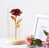 Gouden Roos In Glazen Stolp - Roos In Stolp - Beauty And The Beast Roos - Roos In Glas - Inclusief Giftbox
