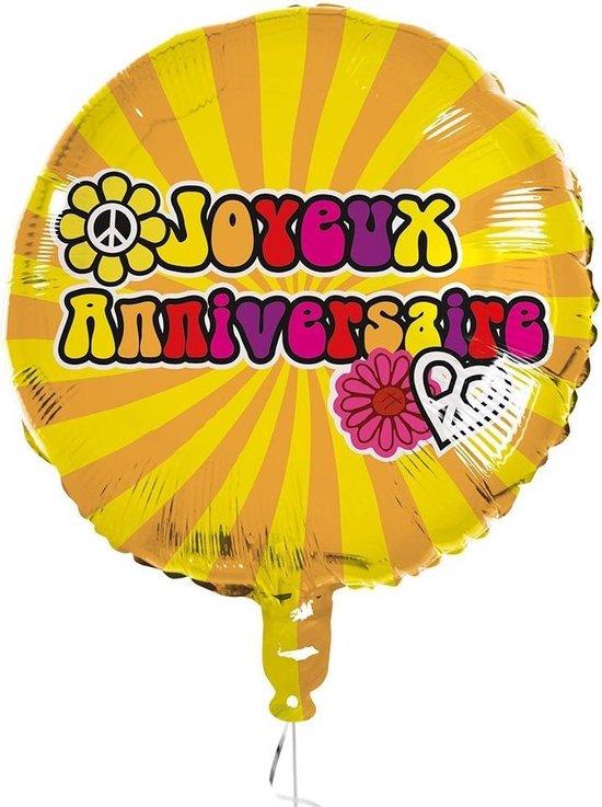 Boland Folieballon Hippie Joyeux Anniversaire 45 Cm Geel