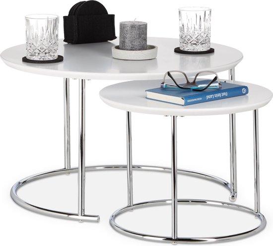 relaxdays bijzettafel 2er set - nest tafels rond - kleine salontafel 60 x 60 - hout - wit - Relaxdays