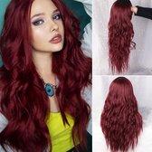 Rode Pruik - Pruiken Dames - Wig - Pruik - Lang Golvend Haar - Rood - 70 cm