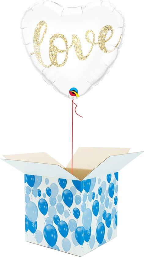 Helium Ballon Hart gevuld met helium - Valentijnsdag - Cadeauverpakking - Love Glitter - Hartjes Folieballon - Helium ballonnen Valentijnsdag