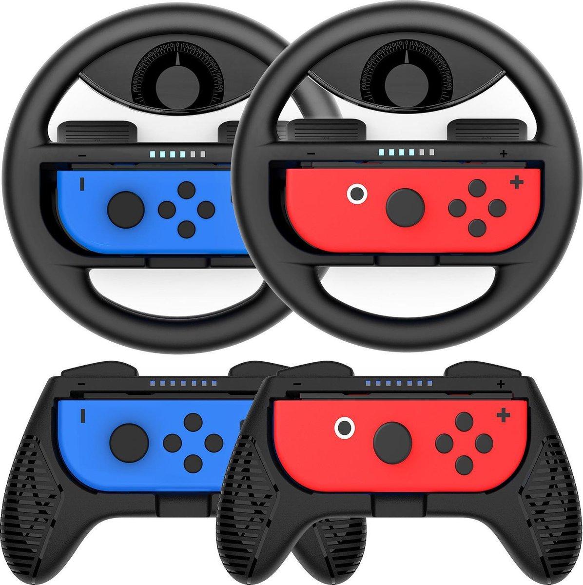 YONO Nintendo Switch Joy-Con Grip Set - Stuur - Controller Houder - Zwart
