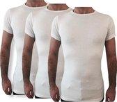 3 Pack Top kwaliteit  T-Shirt - O hals - 100% Katoen - Wit - Maat XL